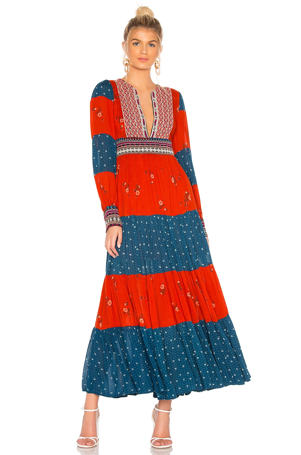 Free People Starlight Maxi Dress in Red