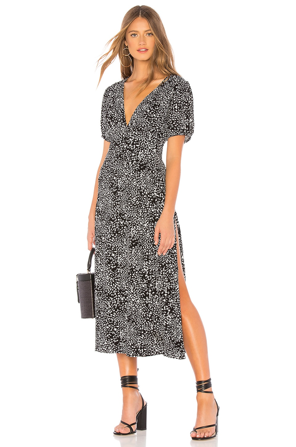 FREE PEOPLE Looking For Love Printed Woven Midi Dress in Black