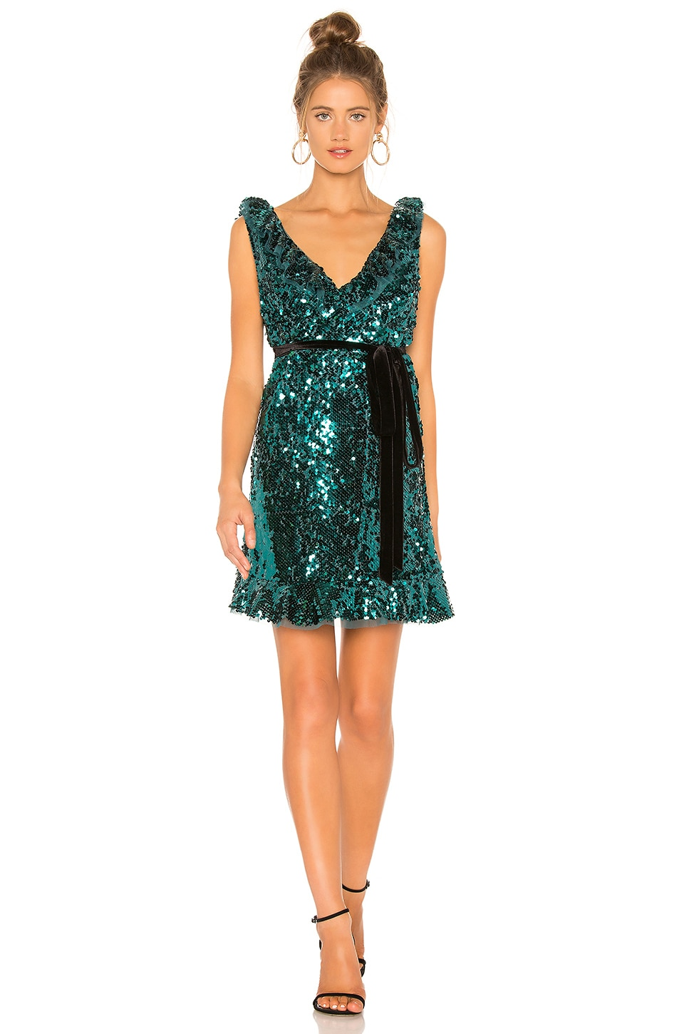 Free People Sequin Siren Mini Dress in Green