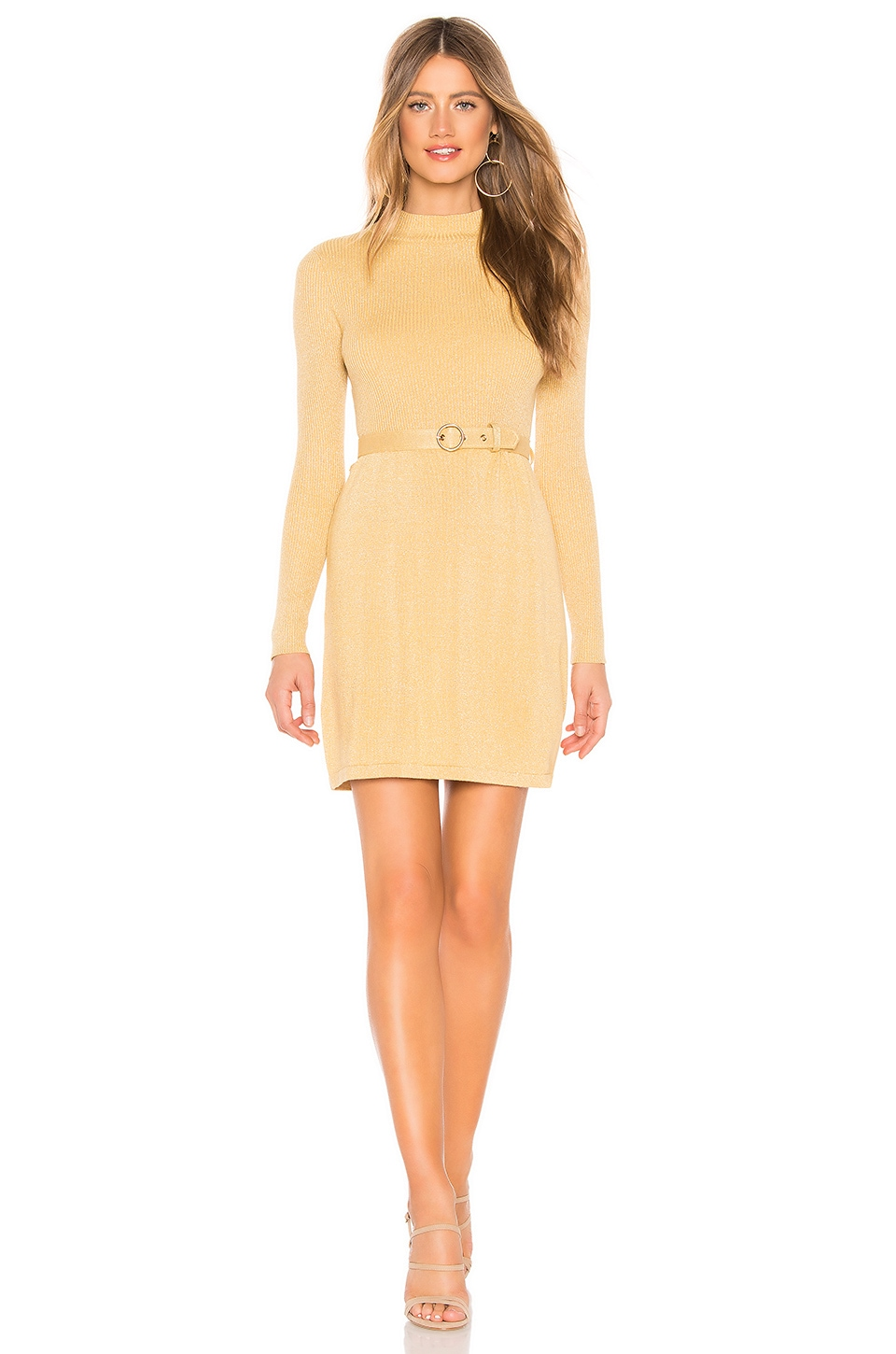 Free People French Girl Mini Dress in Gold