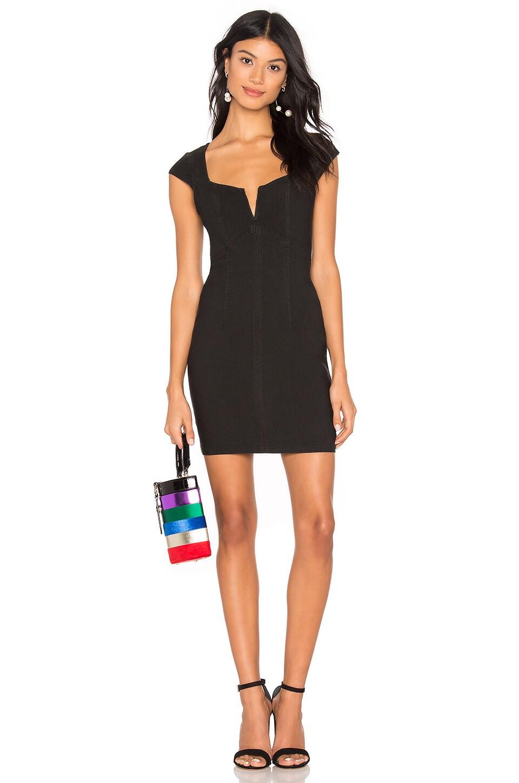 Free People Lia Denim Mini Dress in Black
