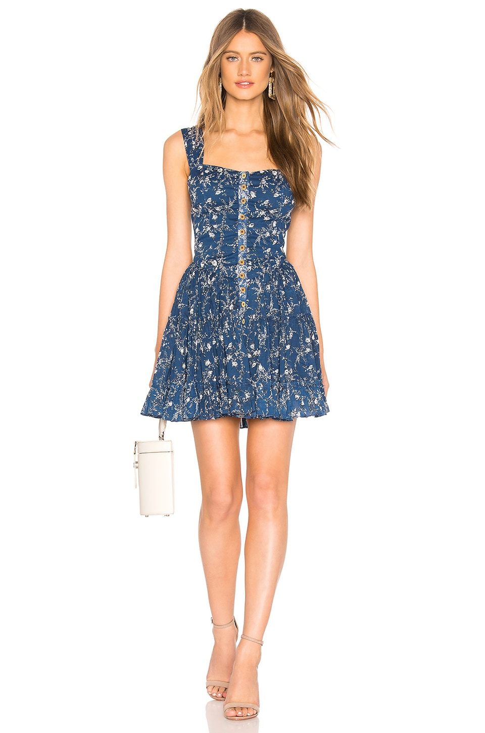 Free People Dance On The Black Top Dress in Blue Combo