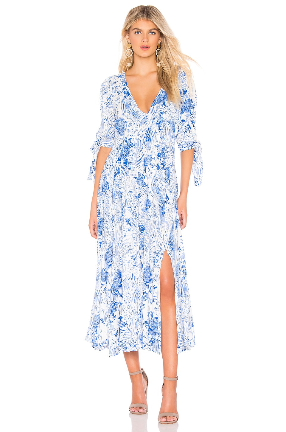 Free People Forever Always Midi Dress in Neutral Combo