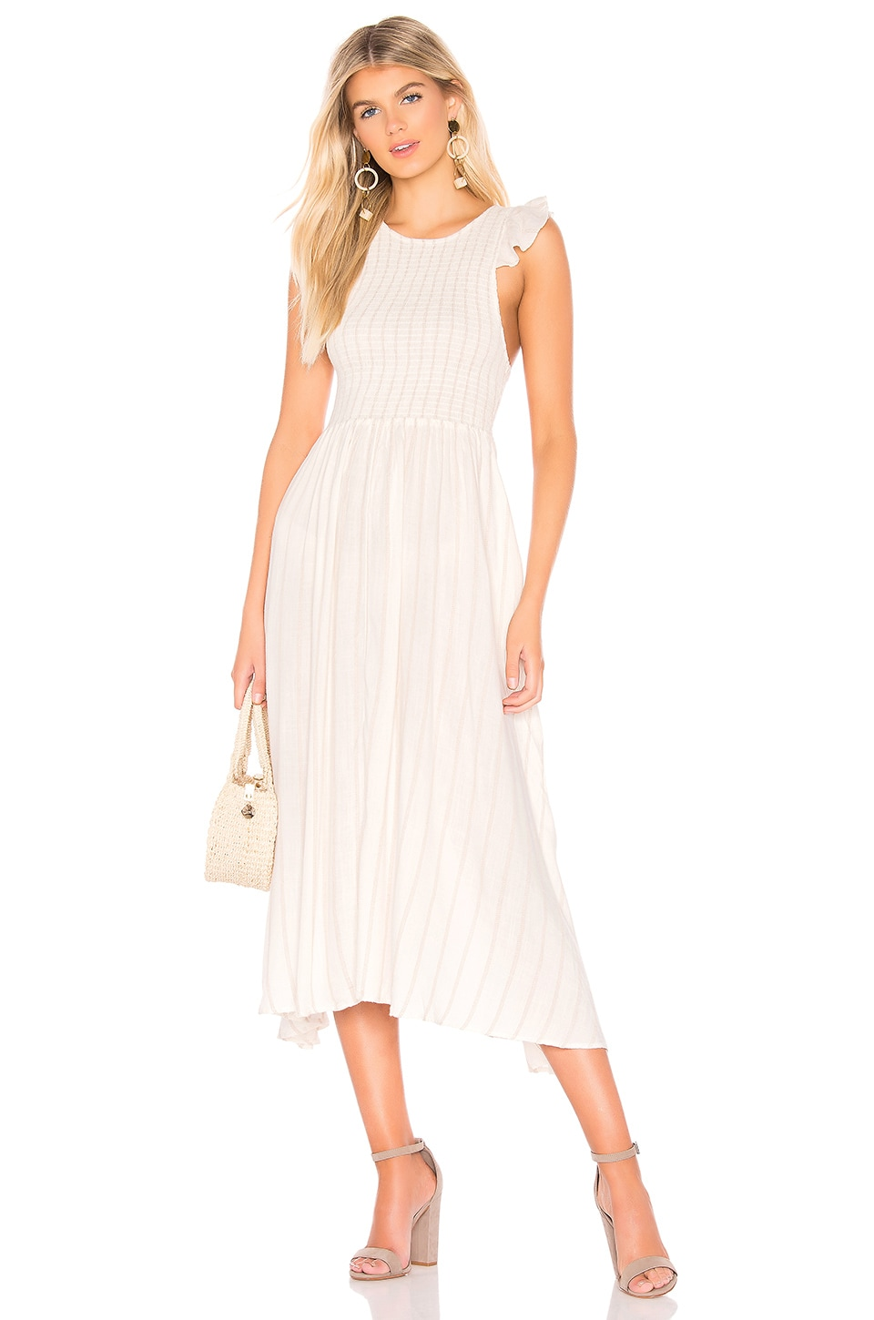 Free People Chambray Butterflies Midi Dress in Ivory