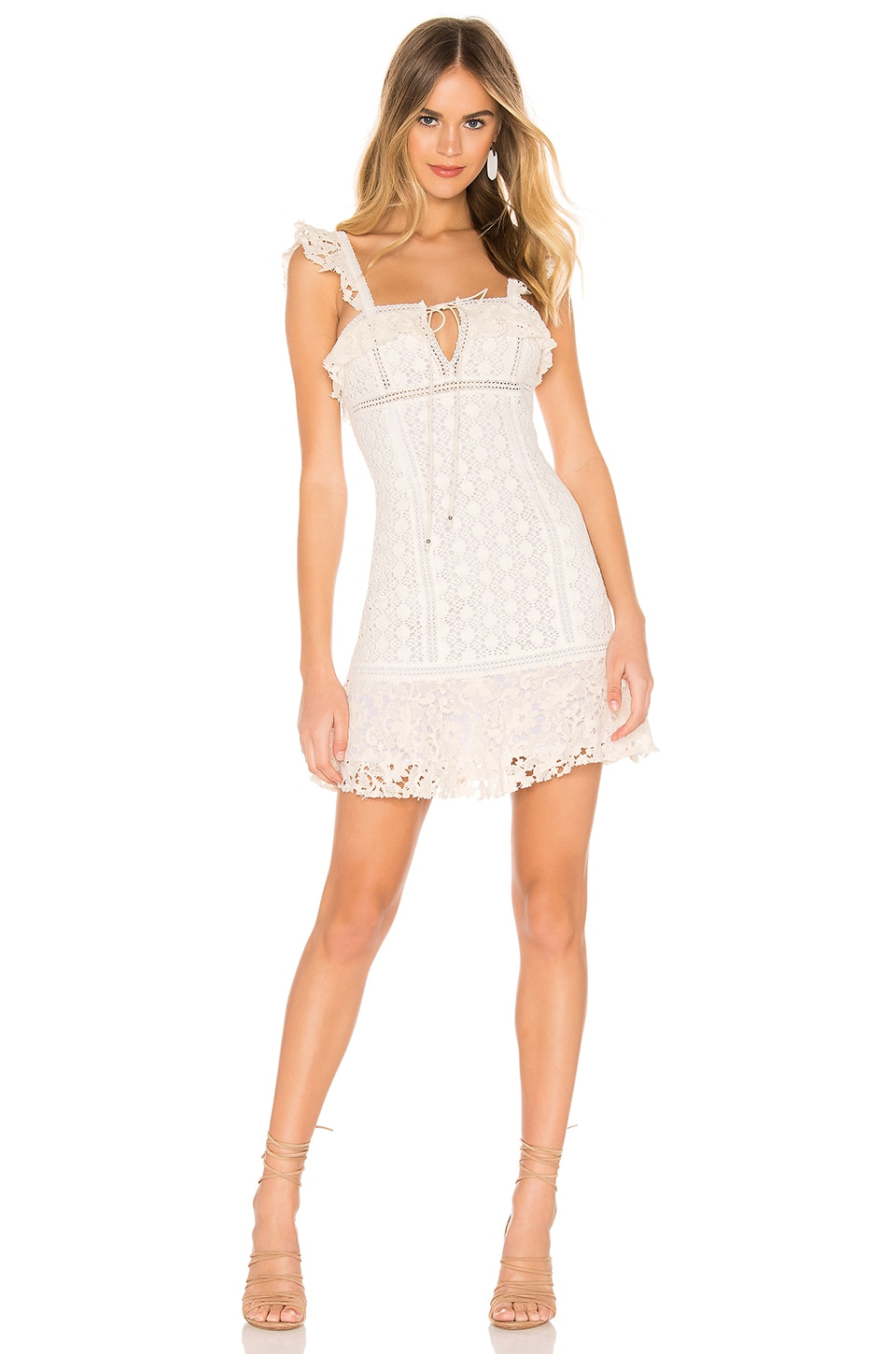 Free People Cross My Heart Mini Dress in Ivory