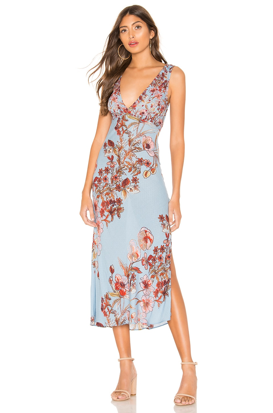 Free People Never Too Late Maxi Dress in Blue