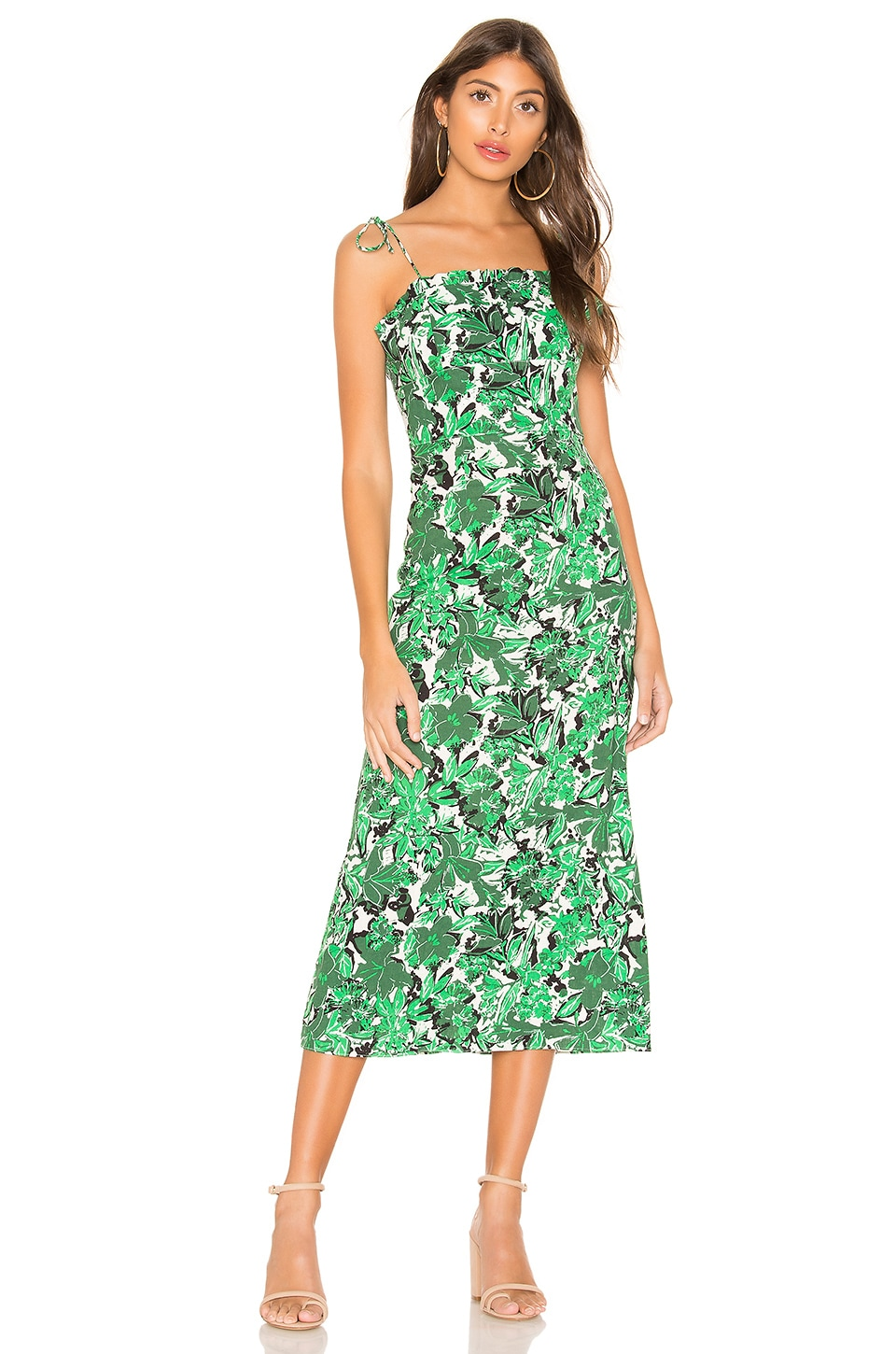 Free People Beach Party Midi Dress in Green Combo