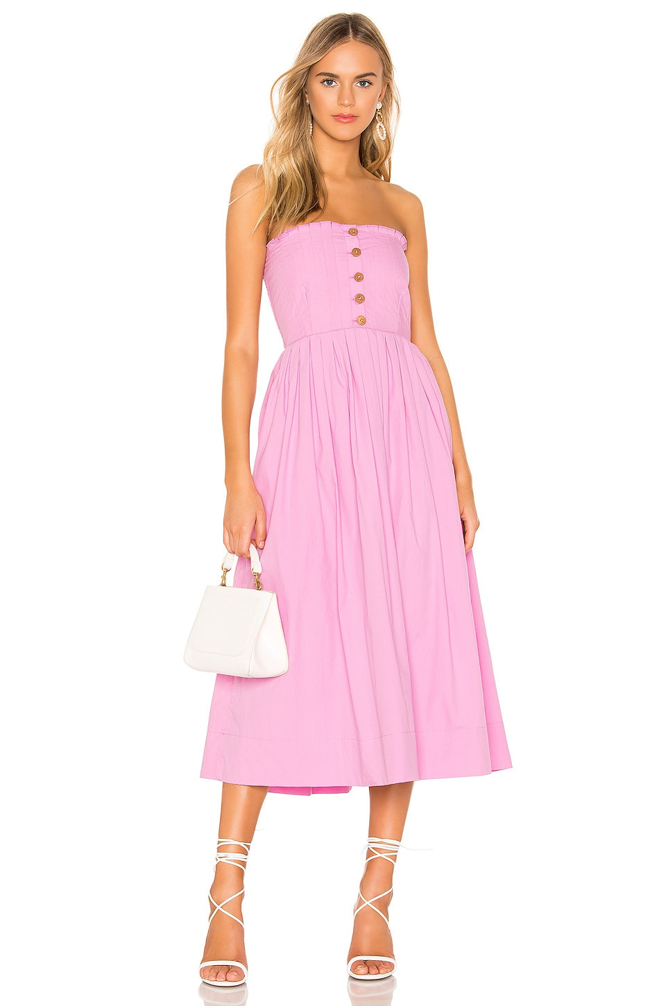 Free People Dresses FREE PEOPLE LILAH PLEATED TUBE DRESS IN PINK.