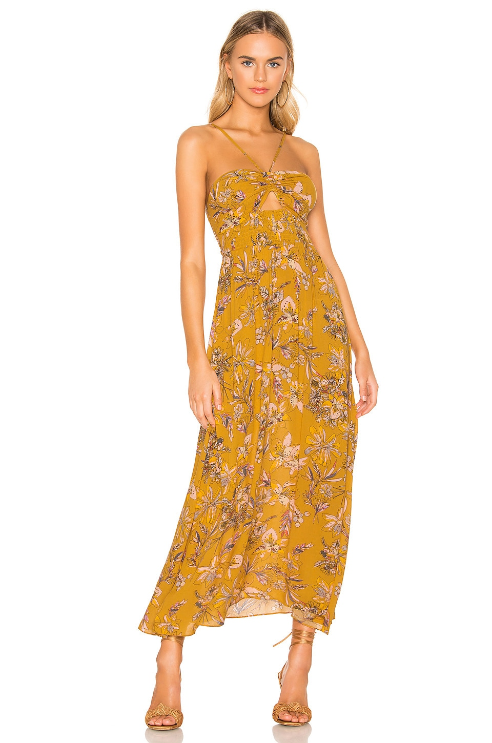 Free People Dresses FREE PEOPLE ONE STEP AHEAD MAXI DRESS IN MUSTARD.