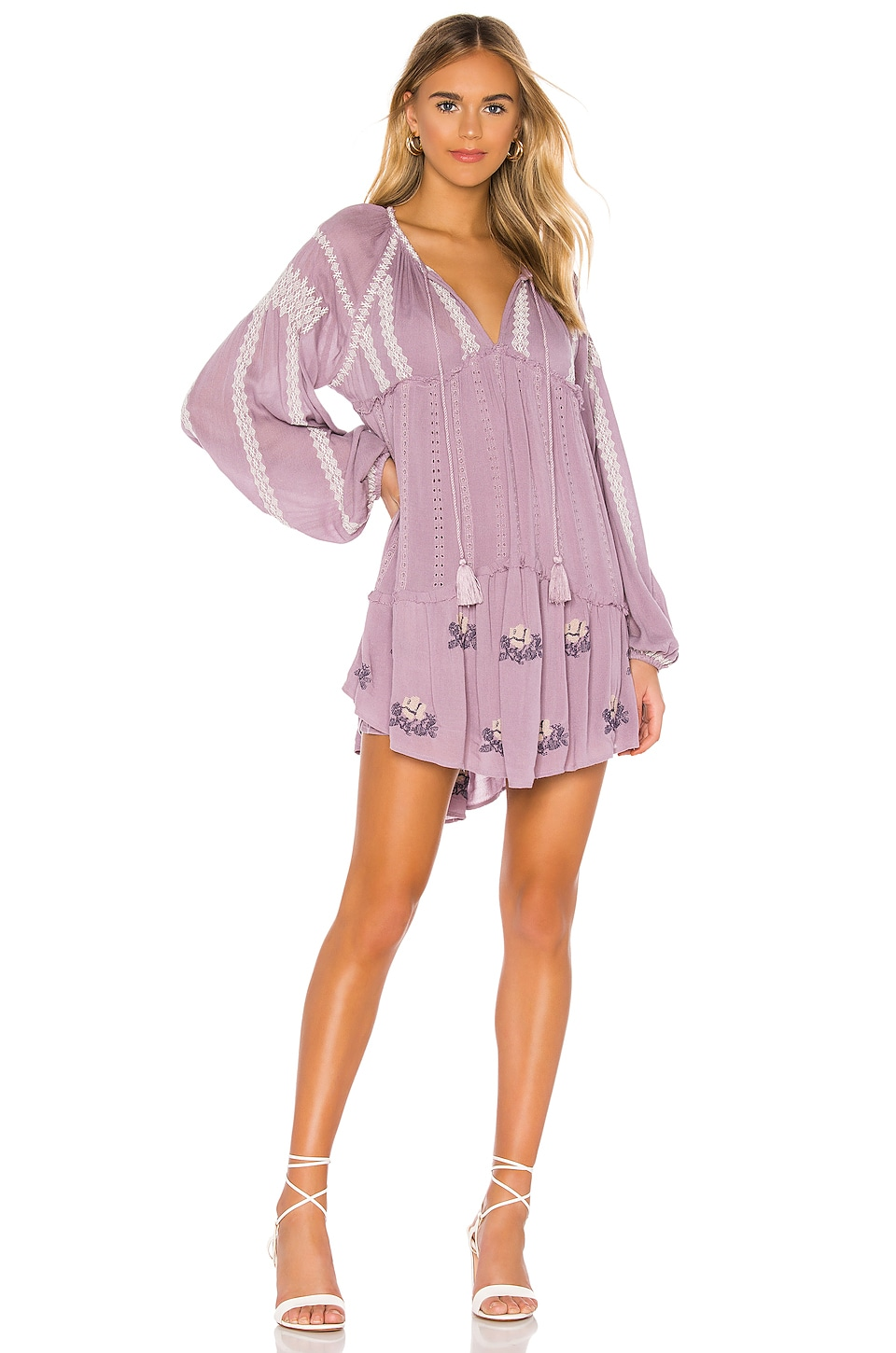 Free People Wild Horses Embroidered Mini Dress in Lilac