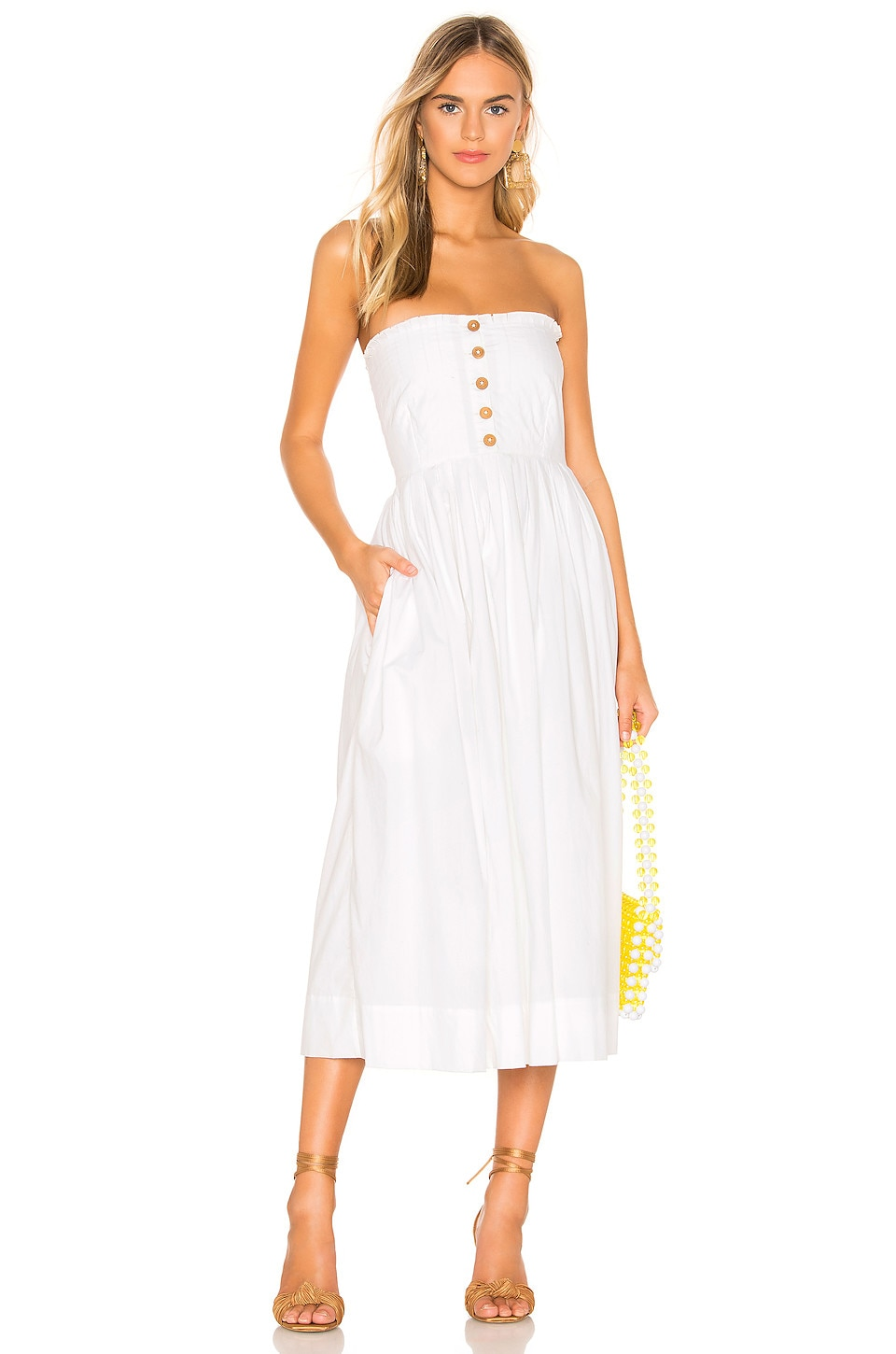 Free People Lilah Pleated Tube Dress in White