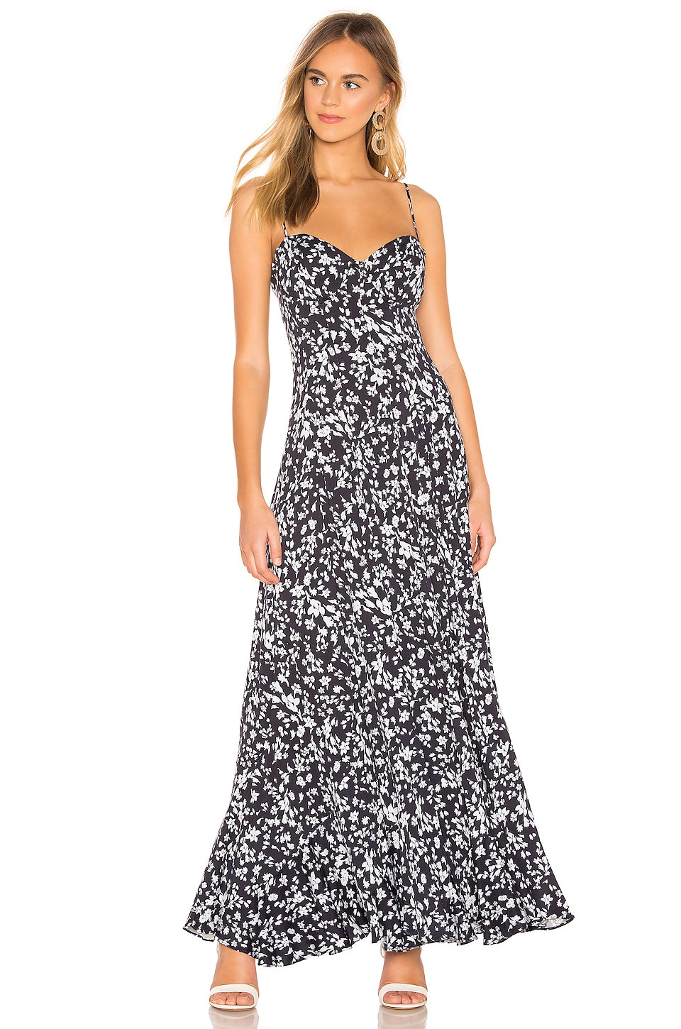 Free People Under The Moonlight Maxi Dress in Navy