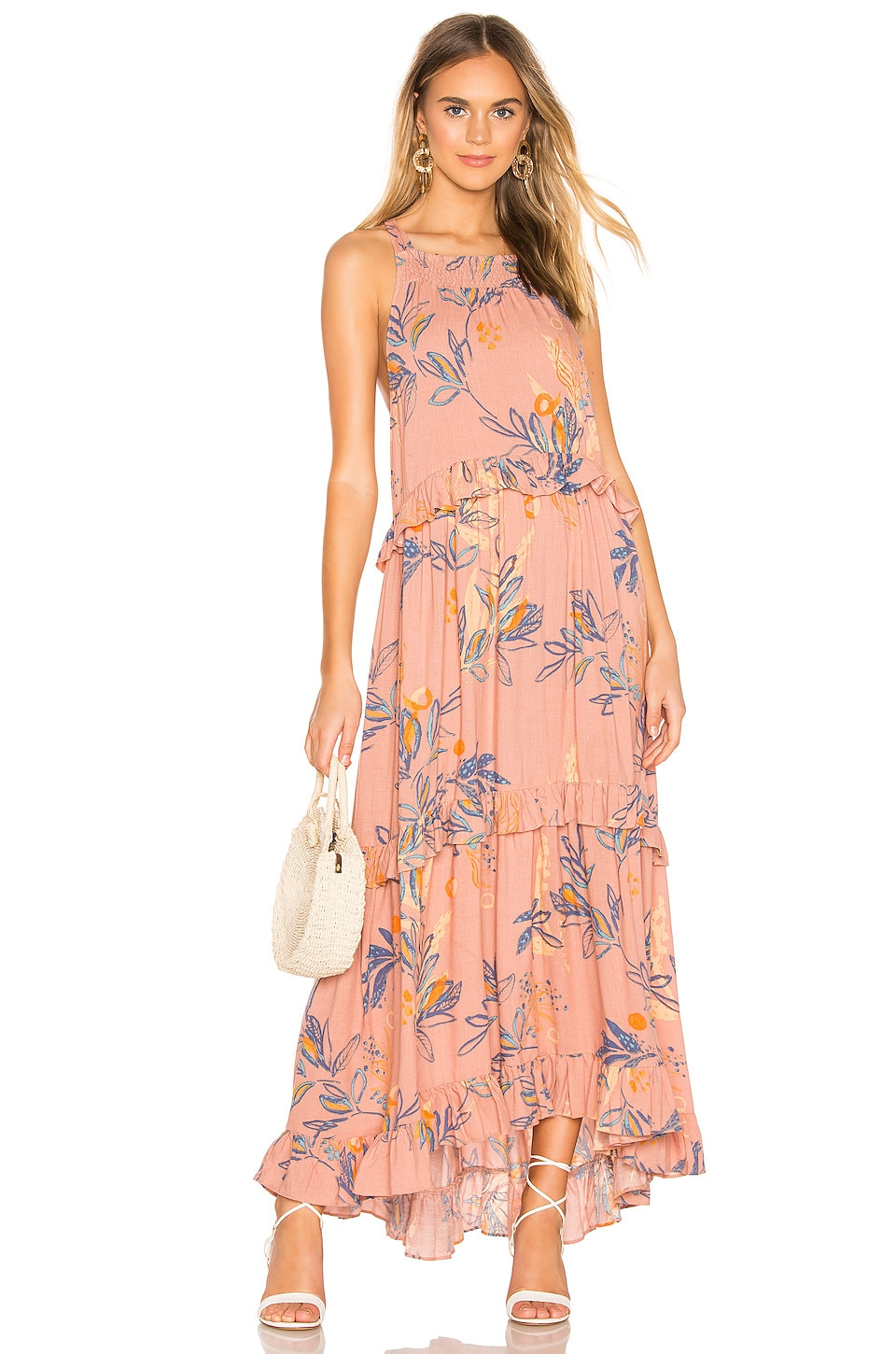 Free People Anita Printed Maxi Dress in Mauve