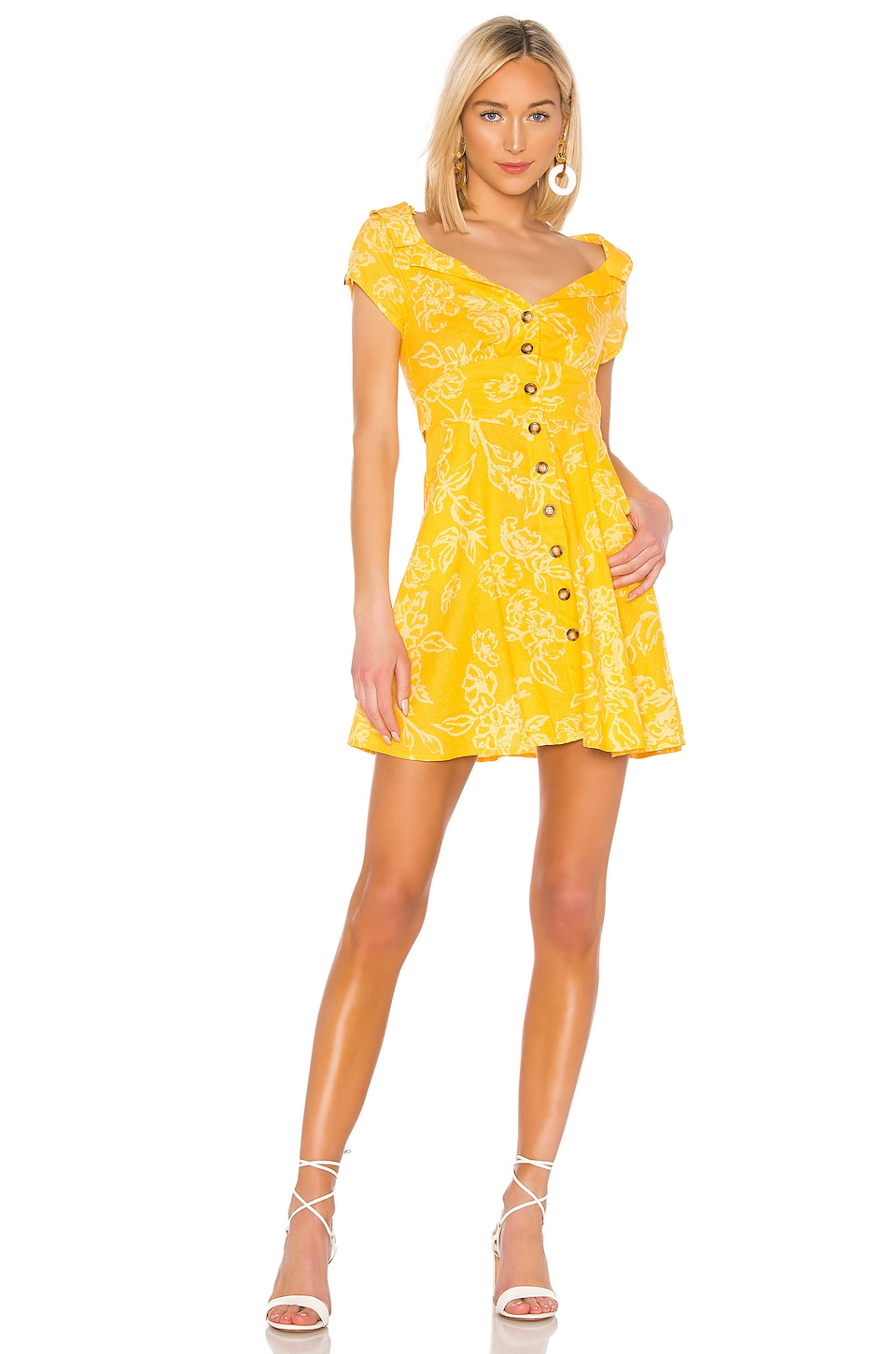 Free People A Thing Called Love Mini Dress in Yellow Combo