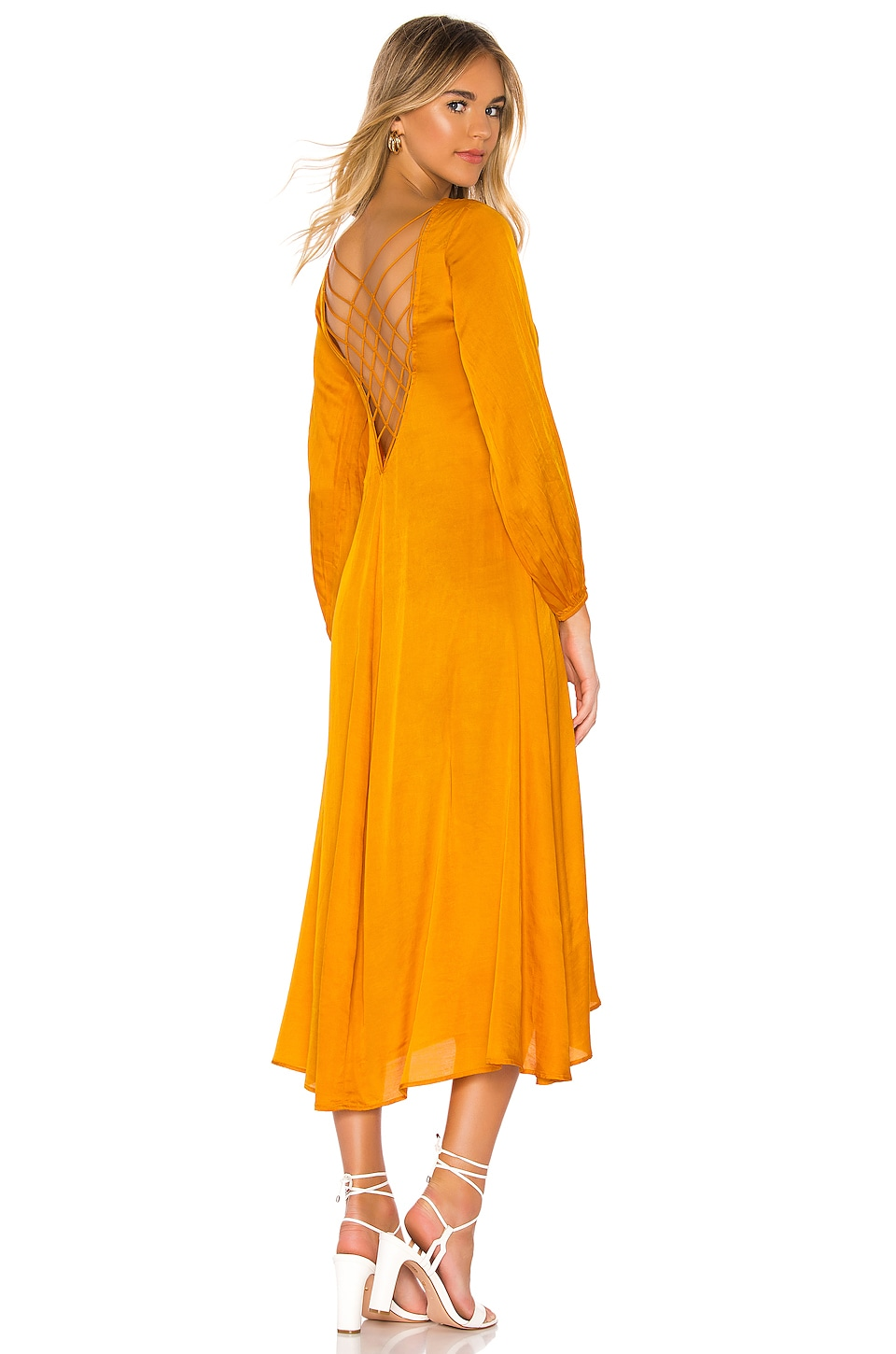 Free People Later Days Midi Dress in Tangerine