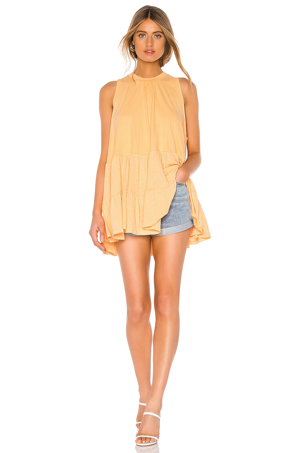 Free People Right On Time Tunic in Light Orange