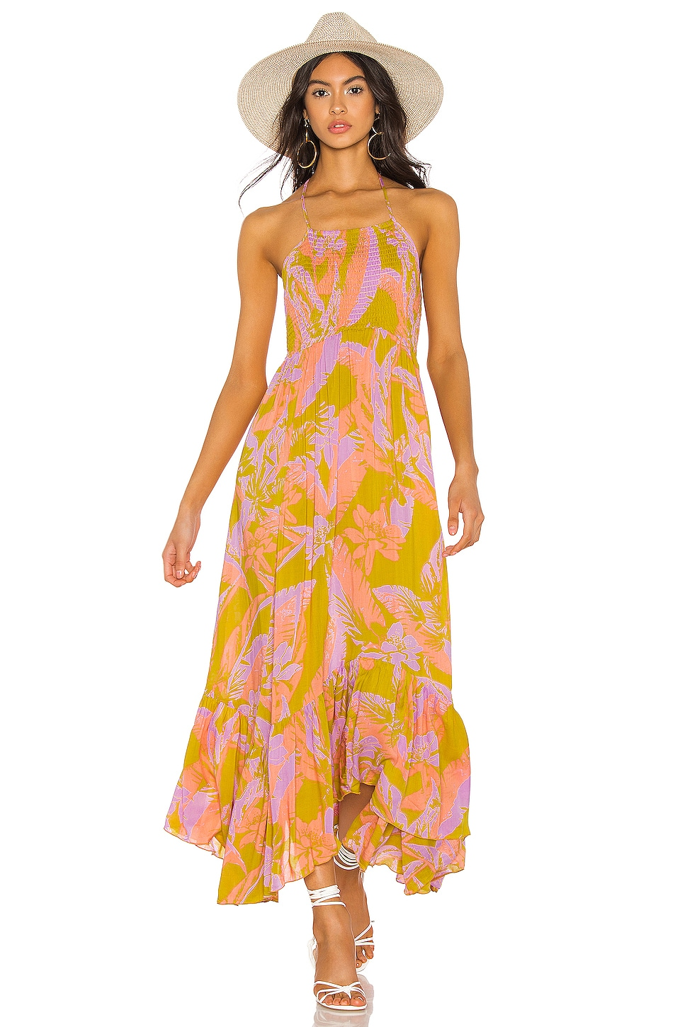 Free People Heat Wave Maxi Dress in Gold