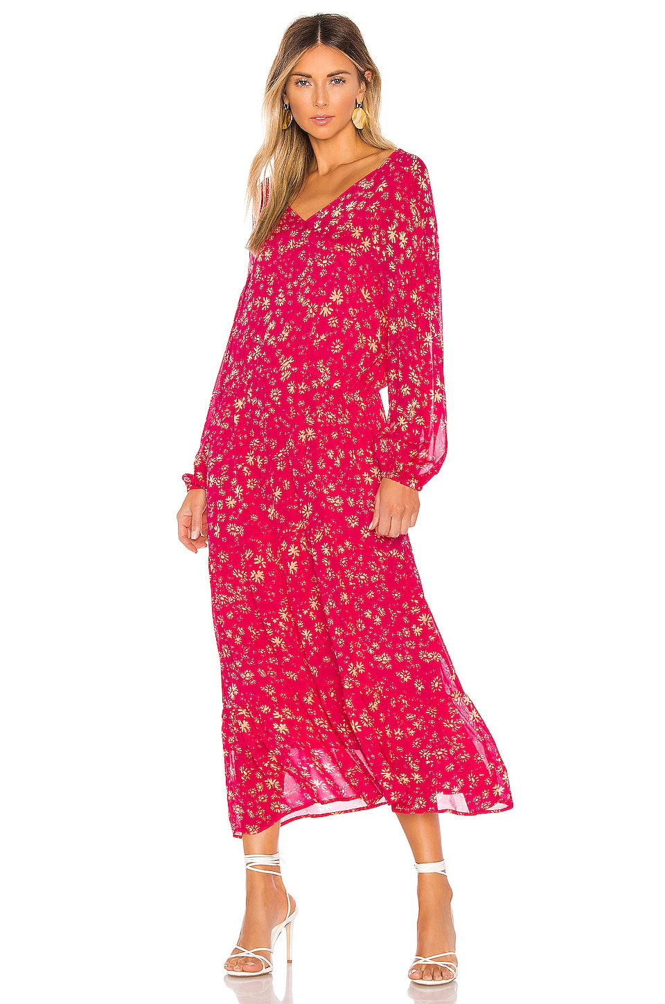 Free People Wall Flower Midi Dress in Red