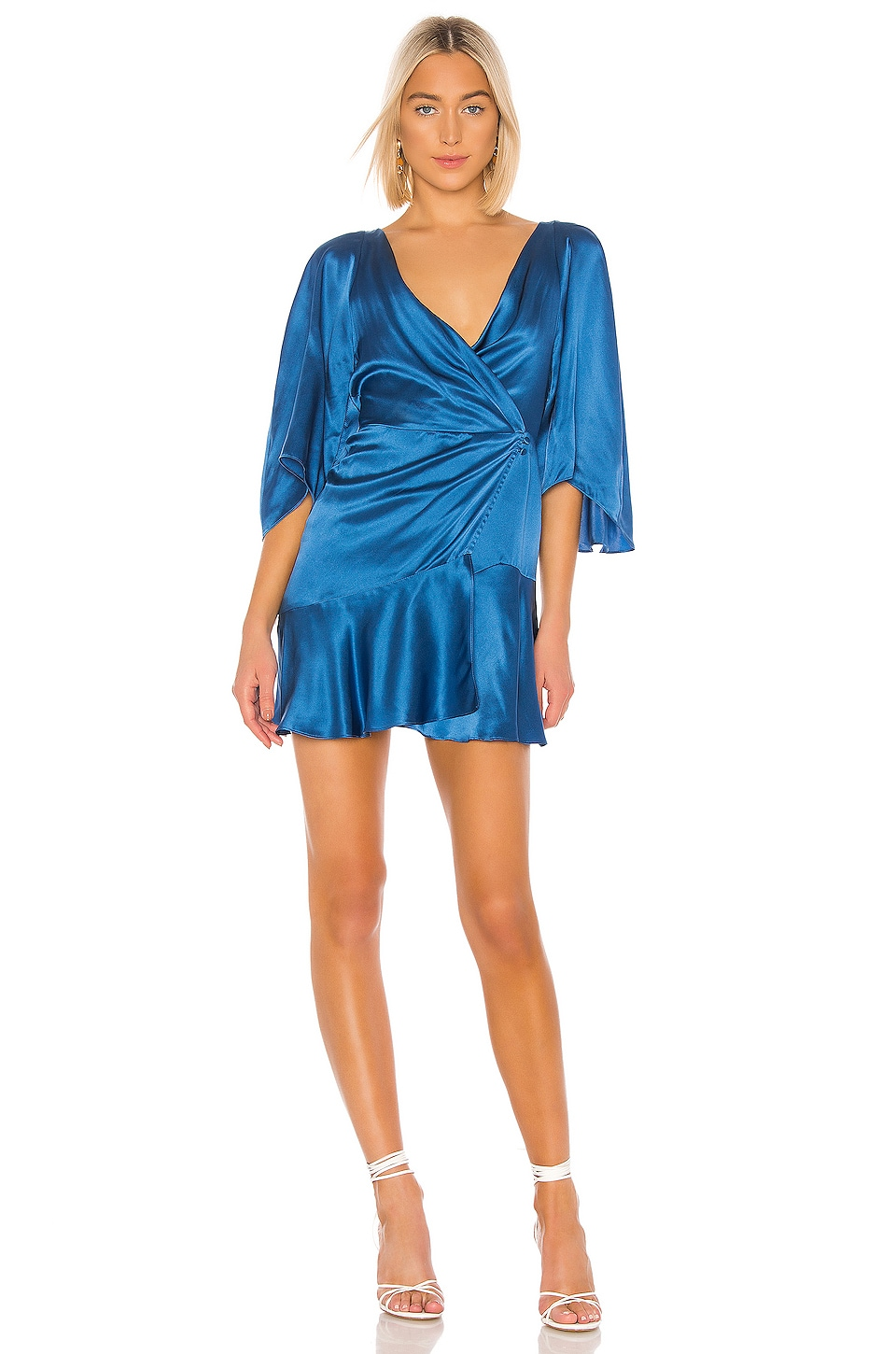Free People Strike A Pose Mini Dress in Blue