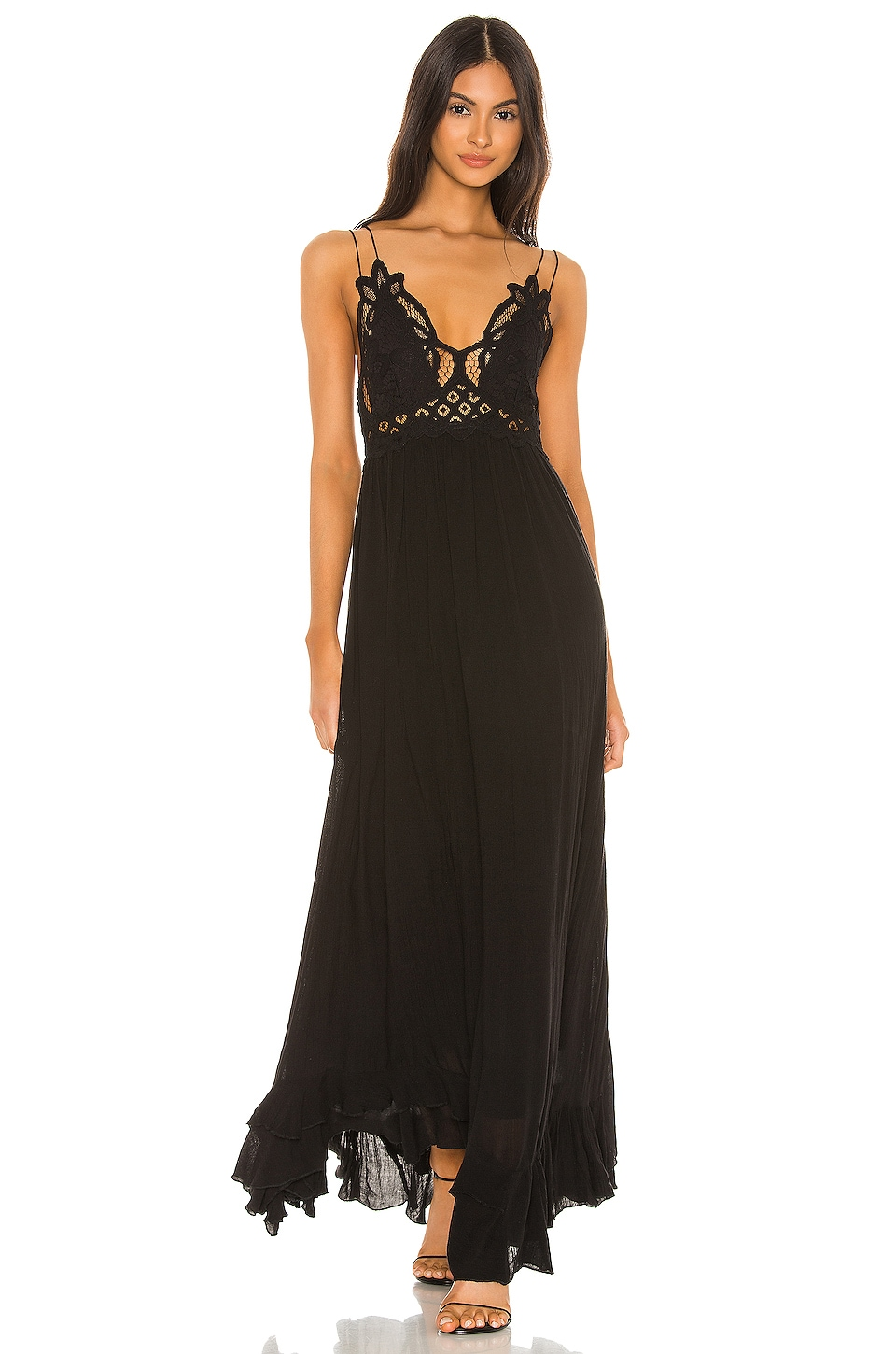 Free People Adella Maxi Dress in Black