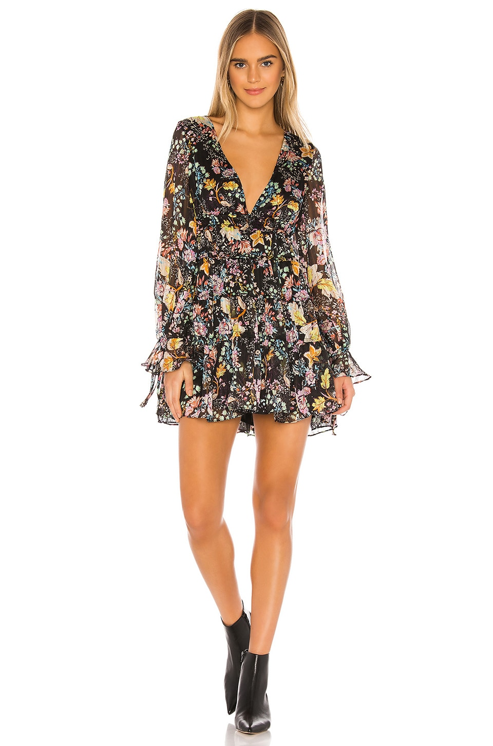 Free People Closeer To The Heart Mini Dress in Black