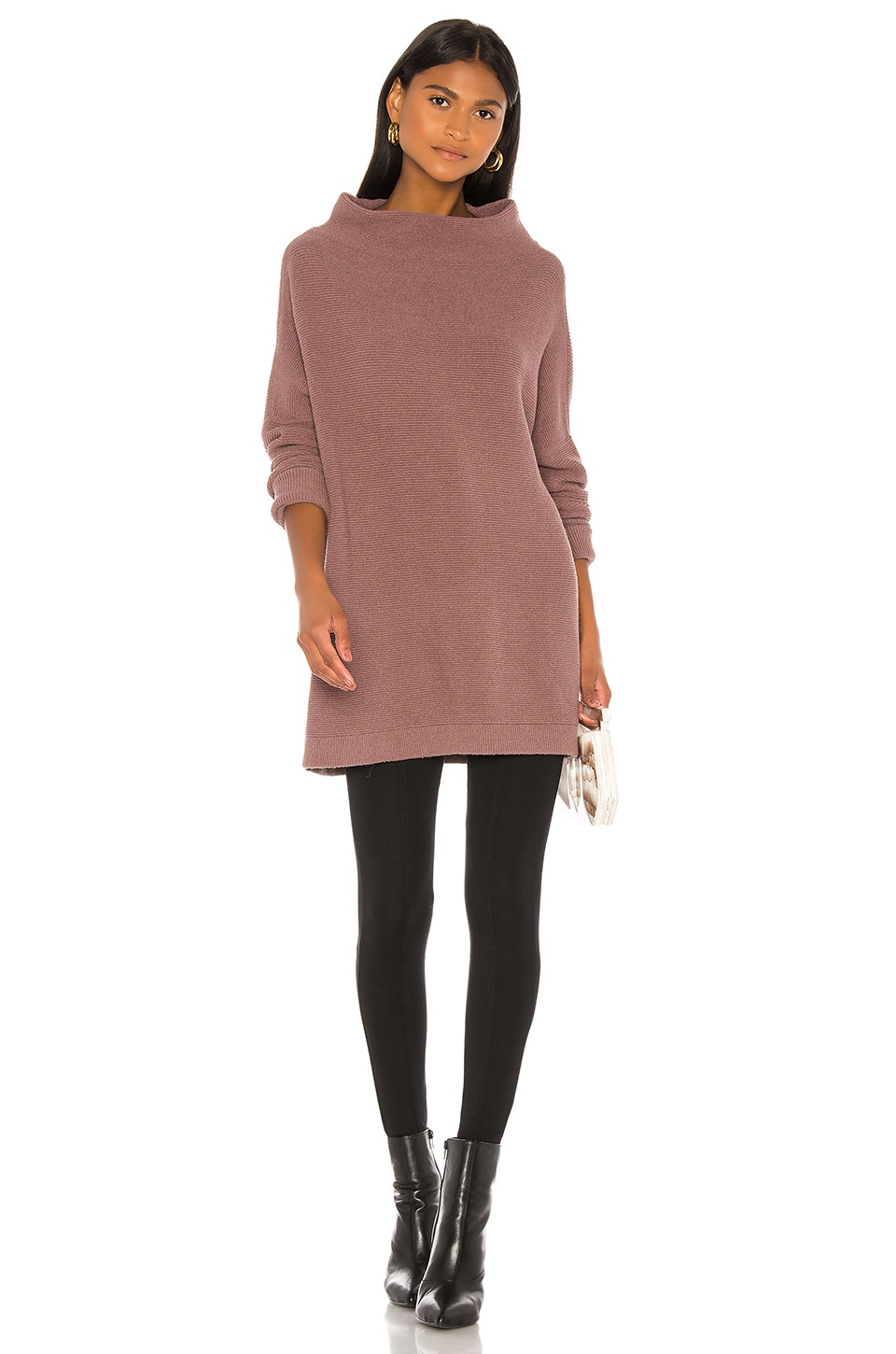 Free People Ottoman Slouchy Tunic Sweater Dress in Taupe