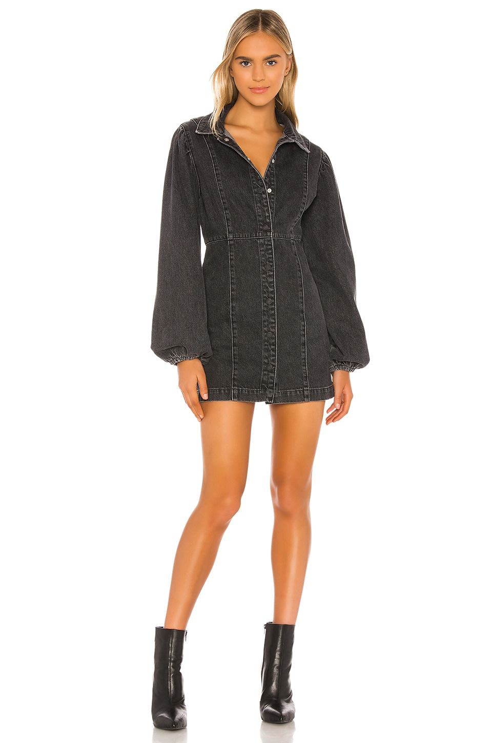 Free People Mia Denim Mini Dress in Black
