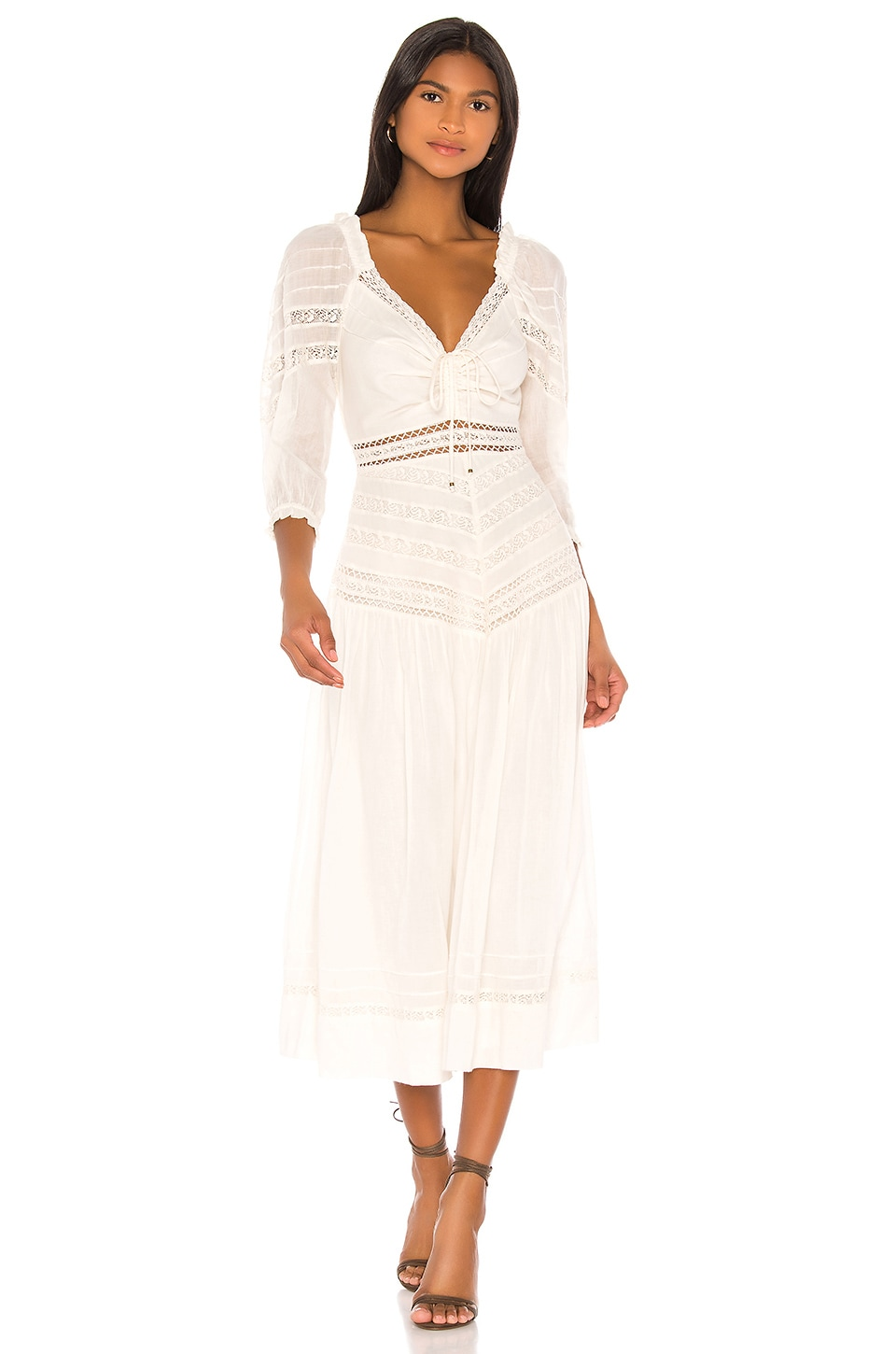 Free People Sweethearts Midi Dress in Ivory