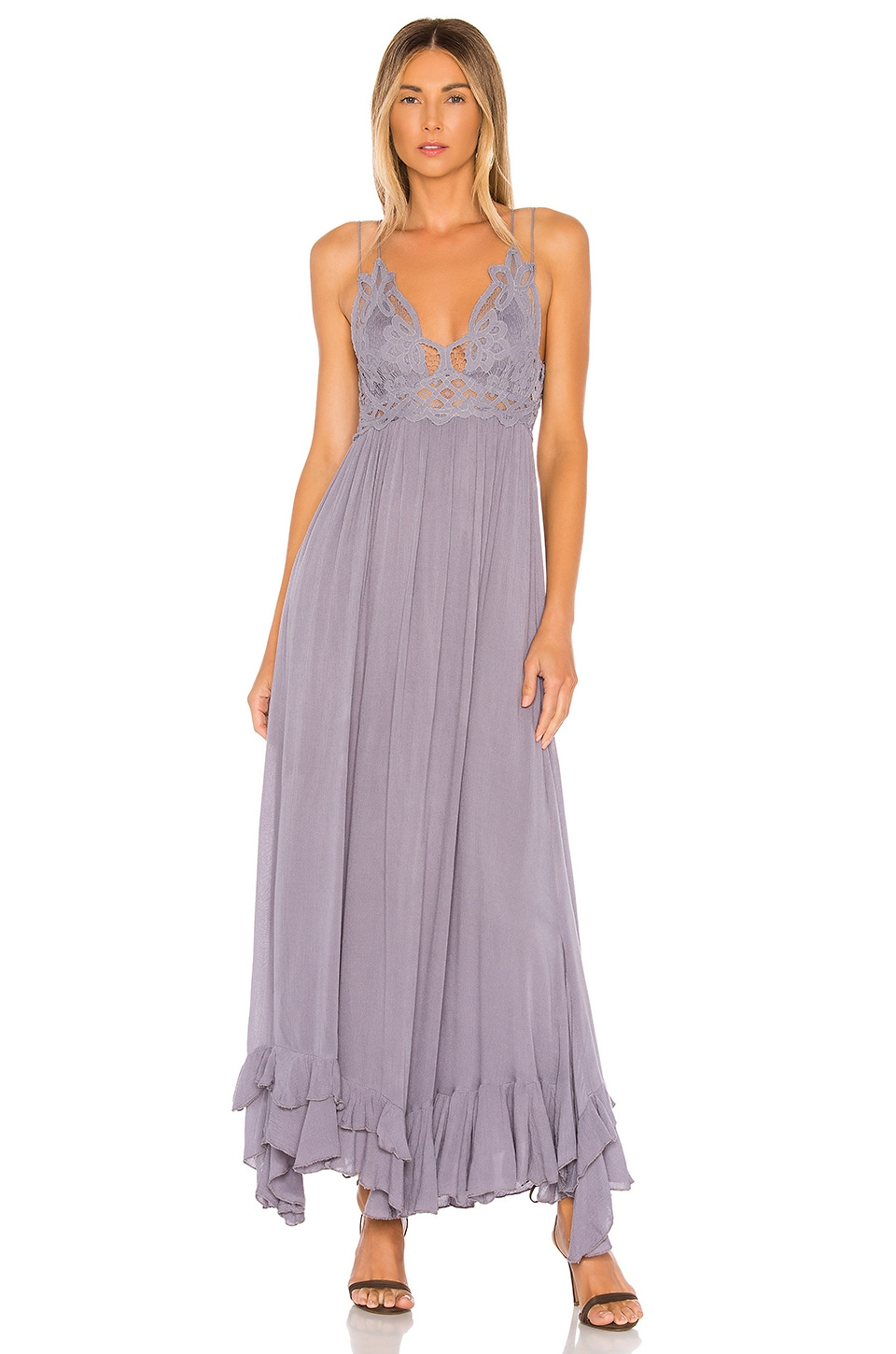 Free People Adella Maxi Slip Dress in Dark Grey
