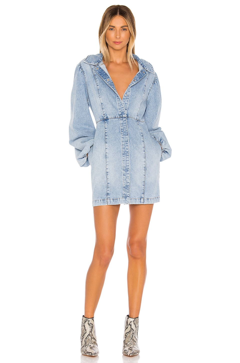 Free People Mia Denim Mini Dress in Indigo Blue