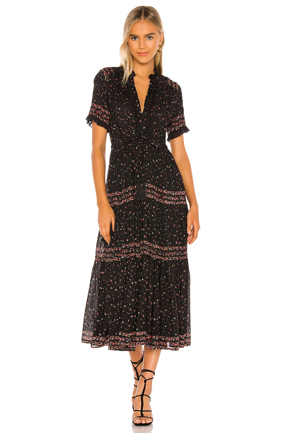 Free People Rare Feeling Maxi Dress en Black Combo