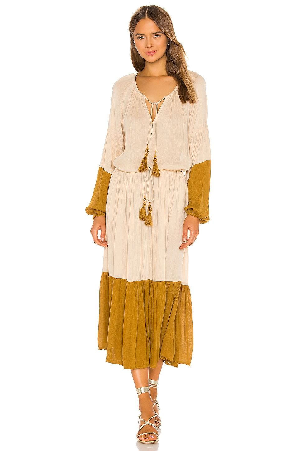 Free People Never Forget Midi Dress in Neutral