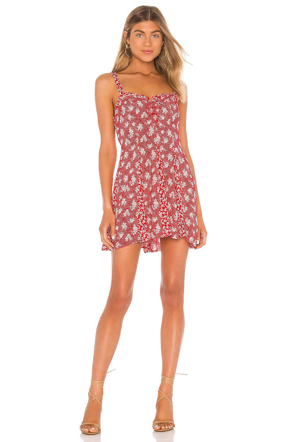 Free People Don't Dare Mixed Print Mini Dress in Red Combo