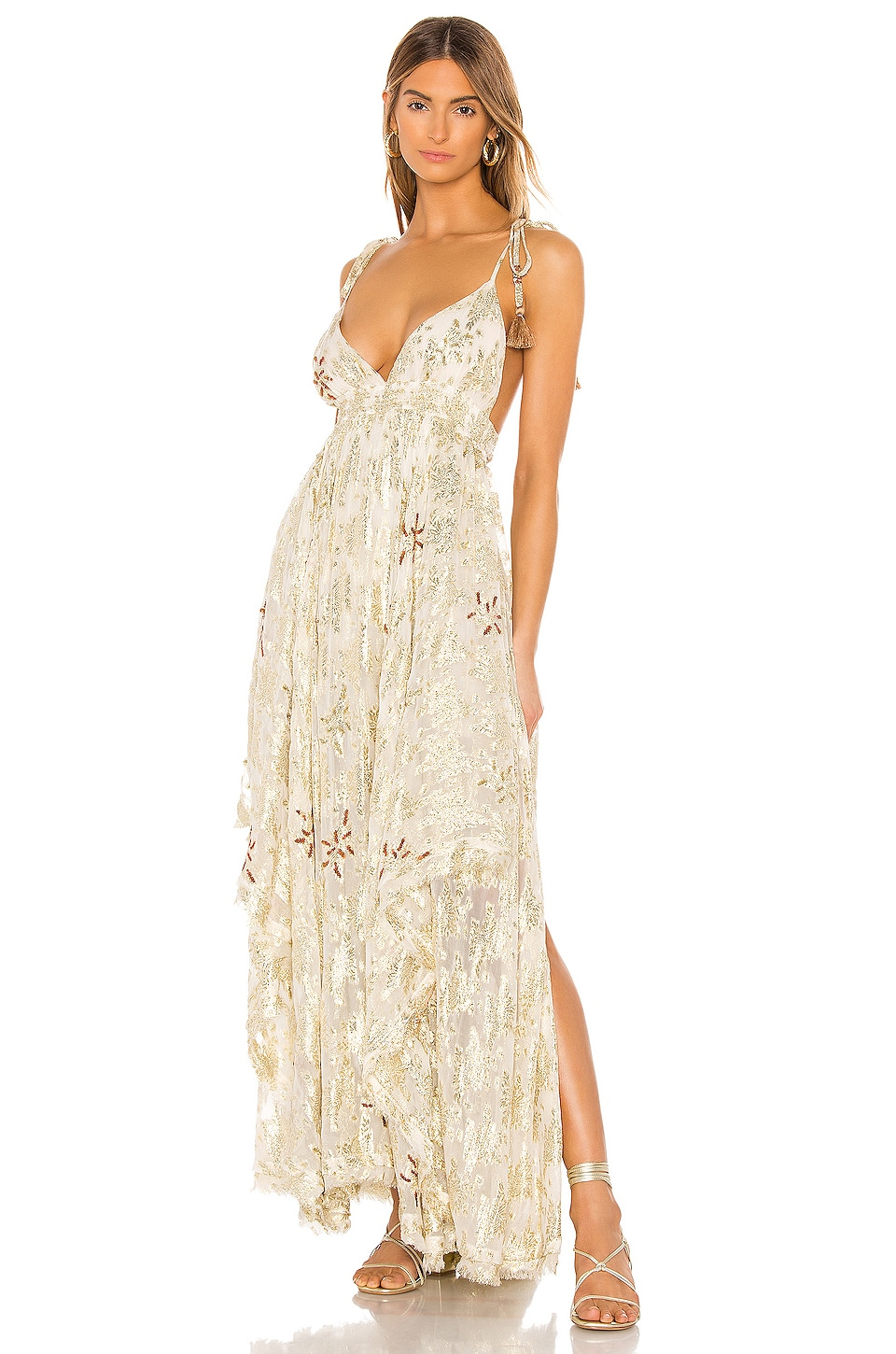 Free People Meredith Maxi Dress in Gold