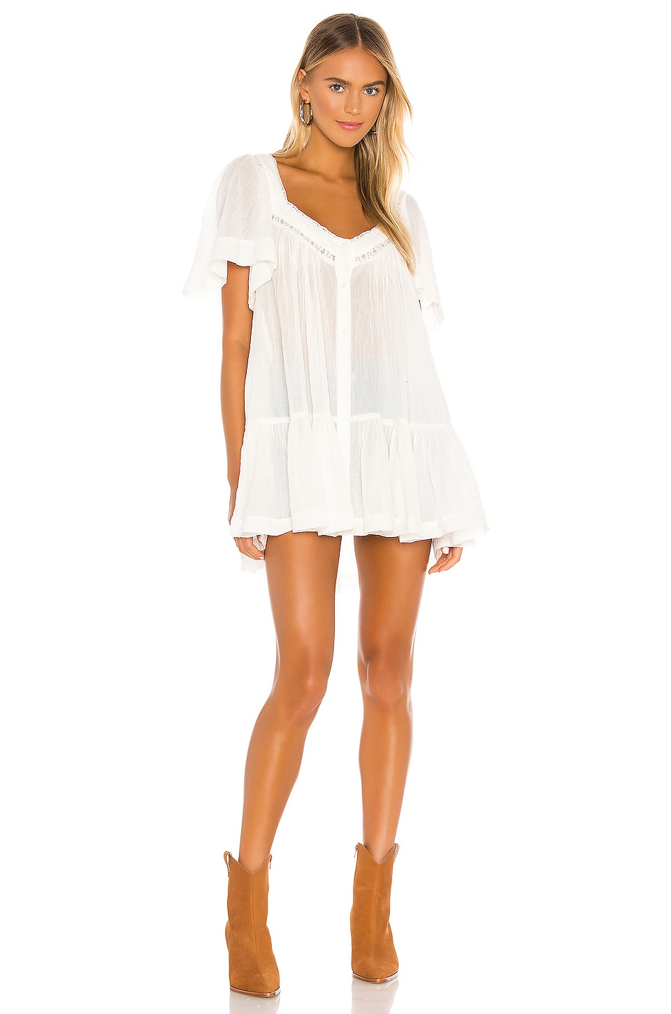 Free People Hearts Desire Mini Dress in White
