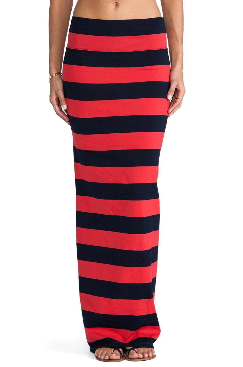 Free People Stripe Column Skirt in Cherry/Navy Combo