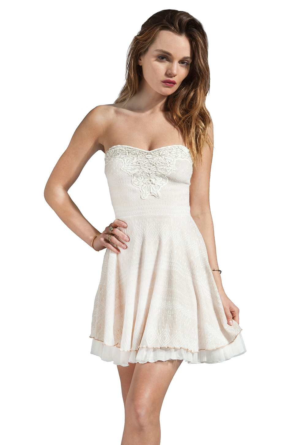 Free People Twinkle & Twirl Dress in Ice Combo