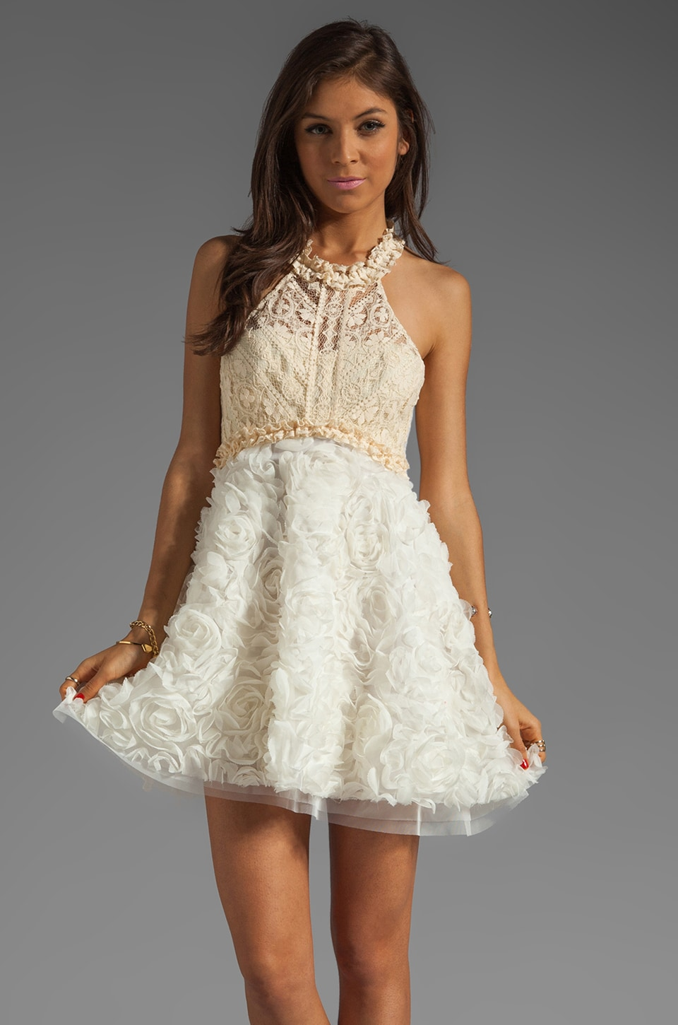 Free People Babydoll Bouquet Party Dress in Ivory