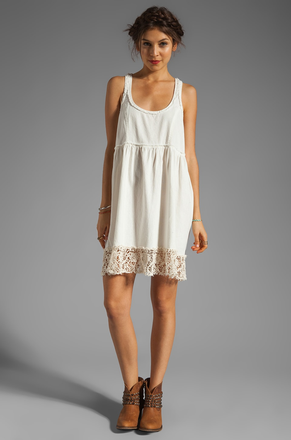 Free People Linen Babydoll Dress in Ivory