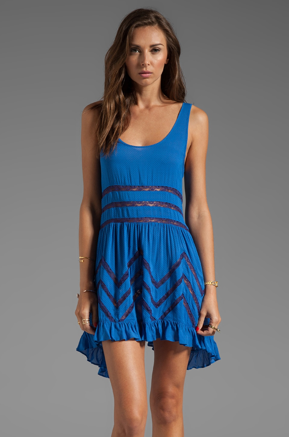 Free People Trapeze Slip Dress in Royal Combo