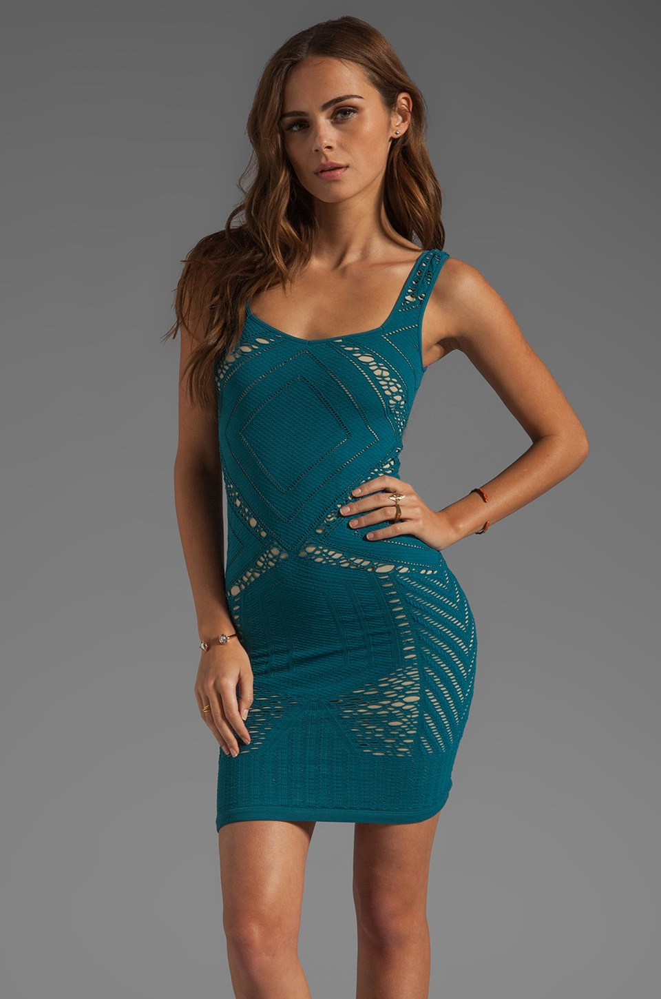 Free People Medallion Slip Dress in Deep Teal Combo