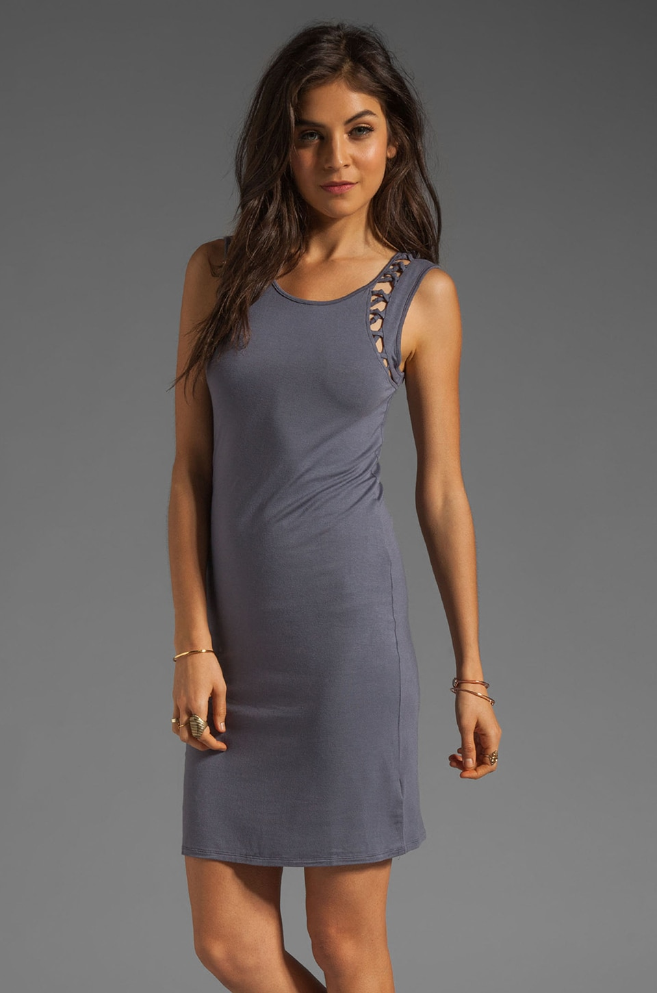 Free People Macramazing Bodycon Dress in Dusk Combo