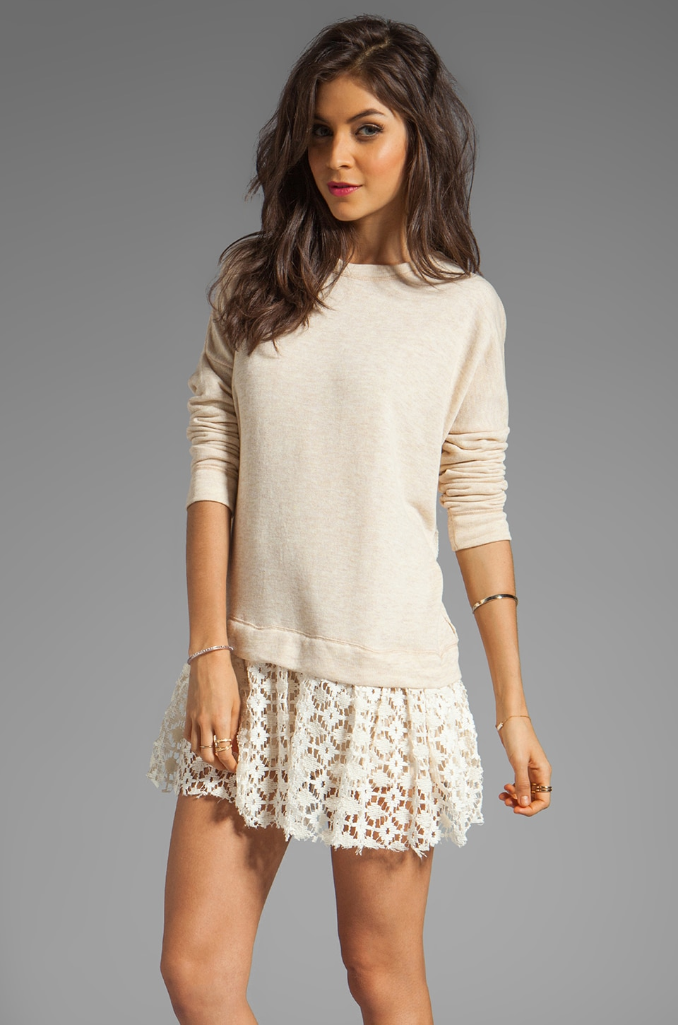 Free People Shake It Up Pullover Dress in Oatmeal