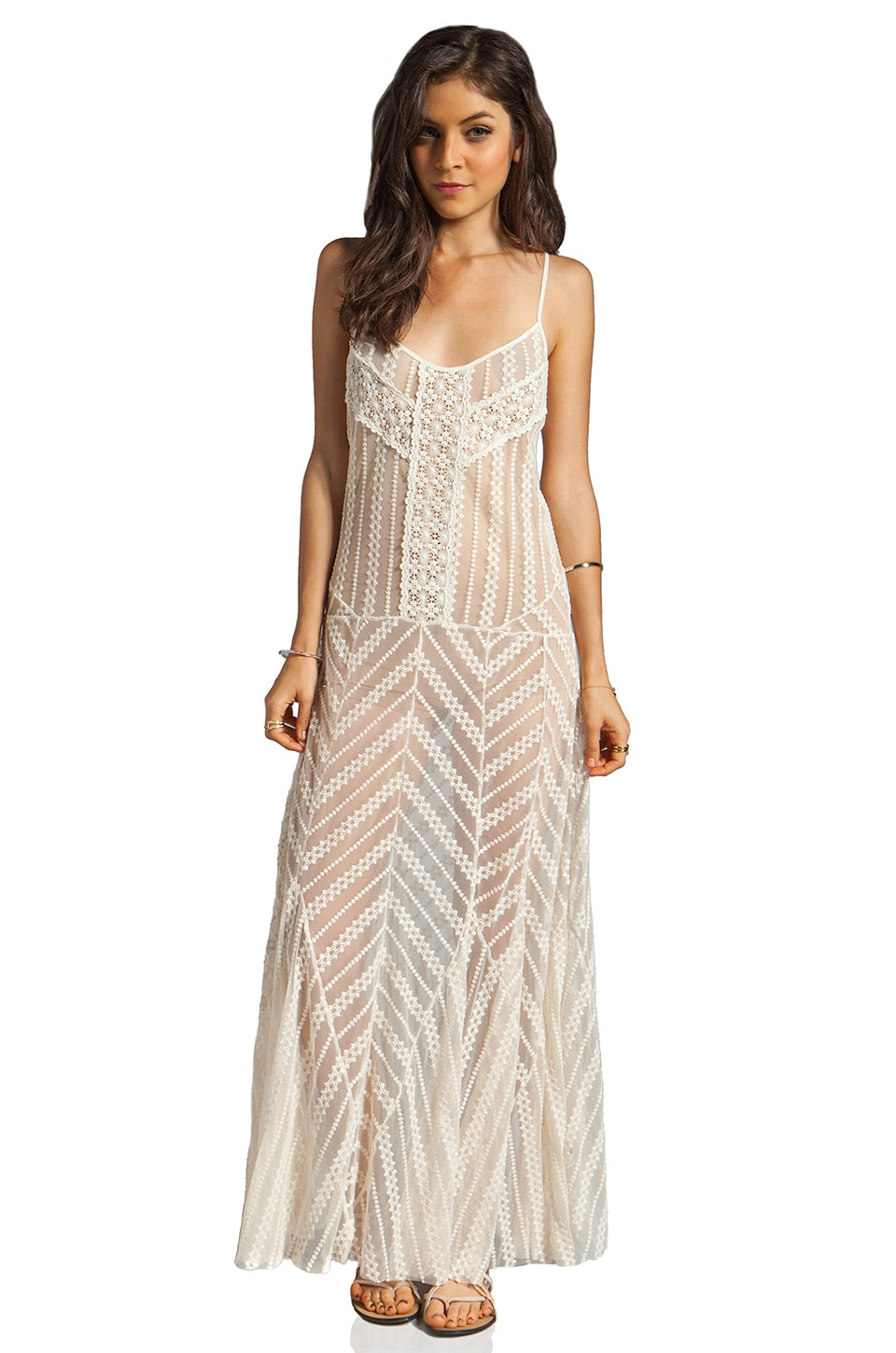 Free People Meadows of Lace Slip Maxi Dress in Cream Combo
