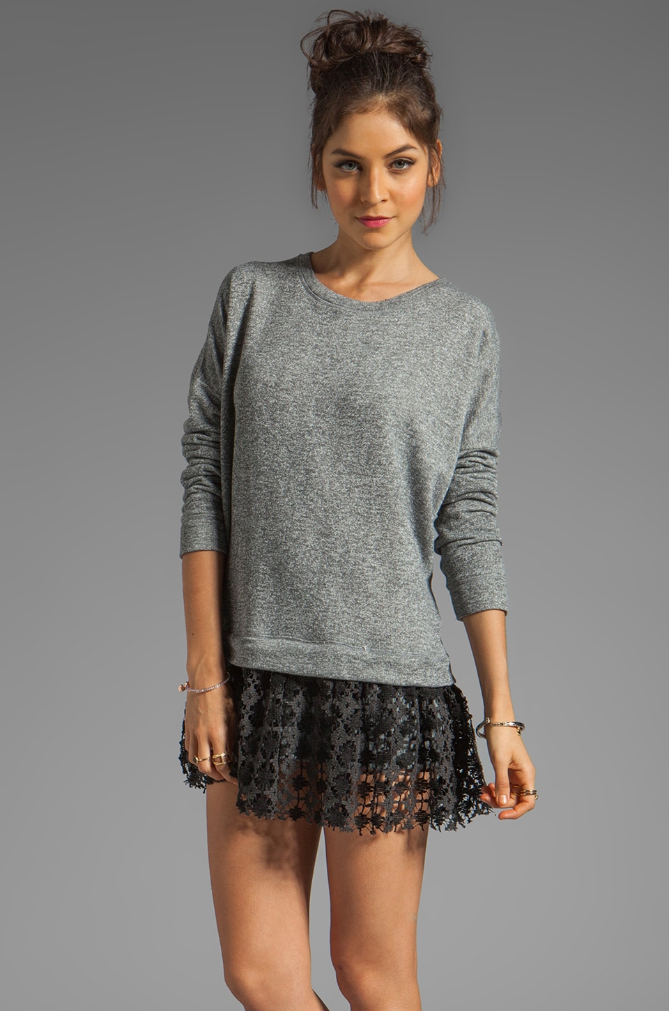 Free People Shake It Up Pullover Dress in Charcoal