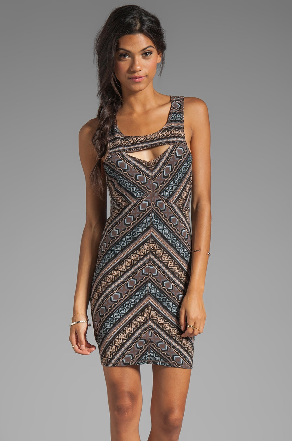 Free People Cut Out Bodycon Slip Dress in Mocha Combo