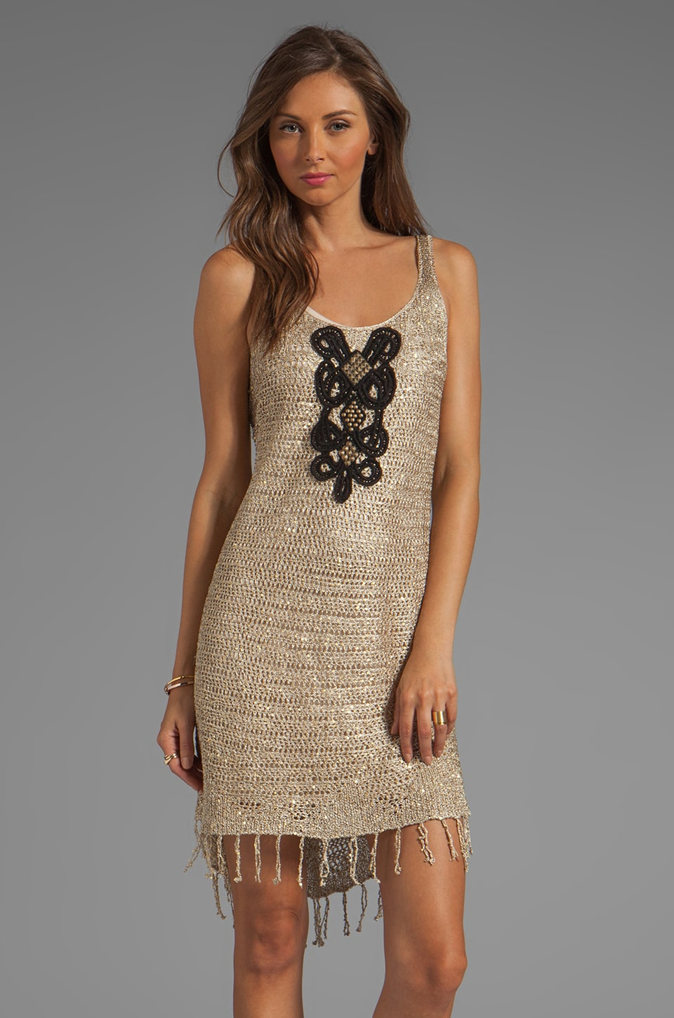 Free People Golden Sands Dress in Gold Combo