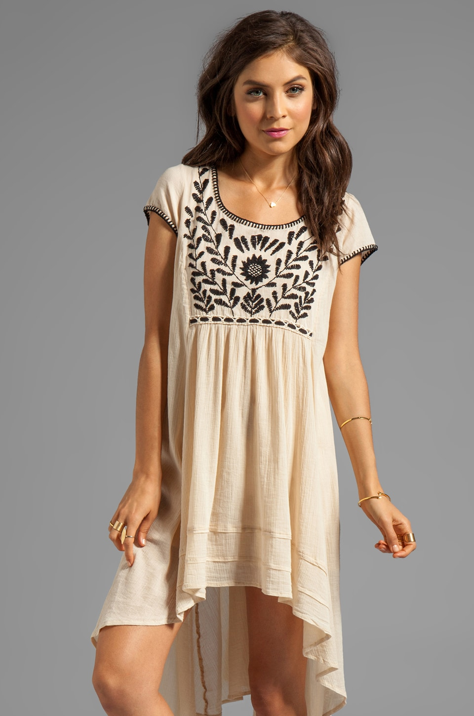 Free People Marina Embroidered Dress in Ivory