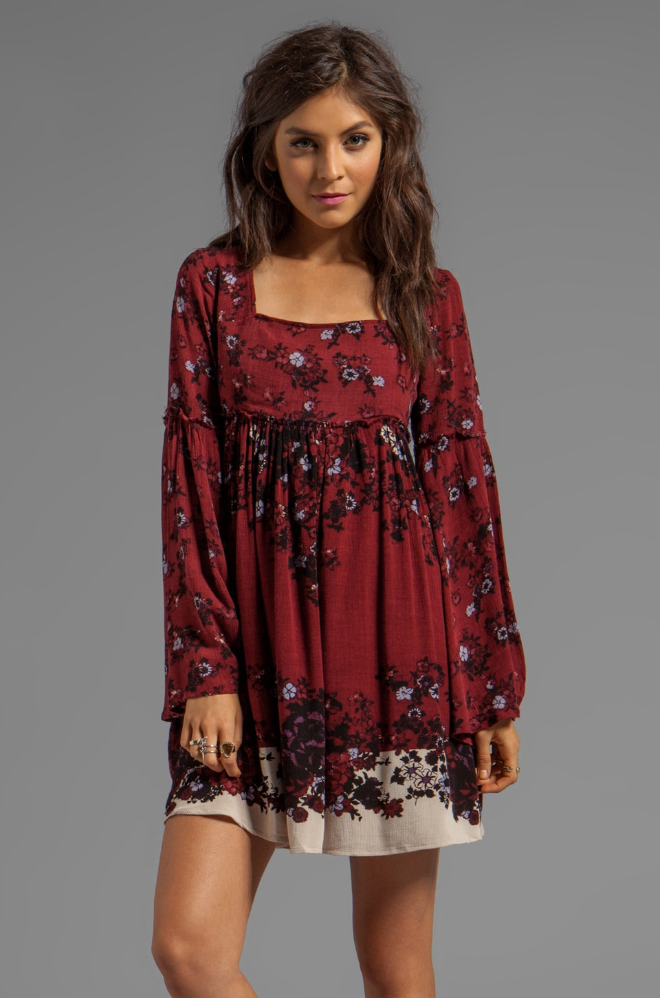 Free People Modern Chinoiserie Dress in Merlot Combo