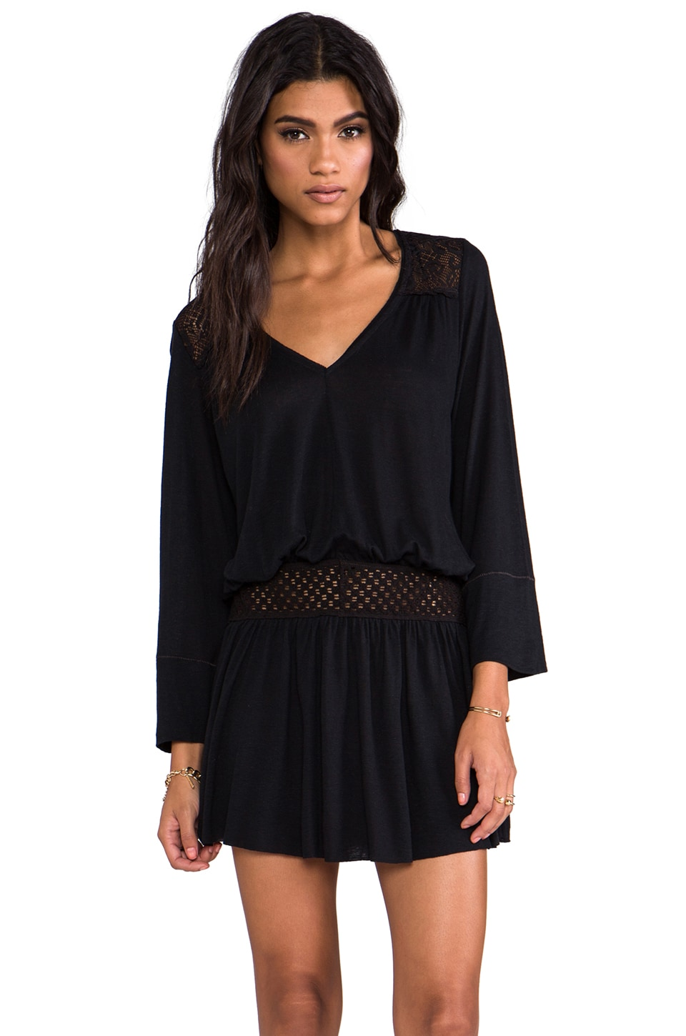 Free People Moonlight Romantic Tunic in Black